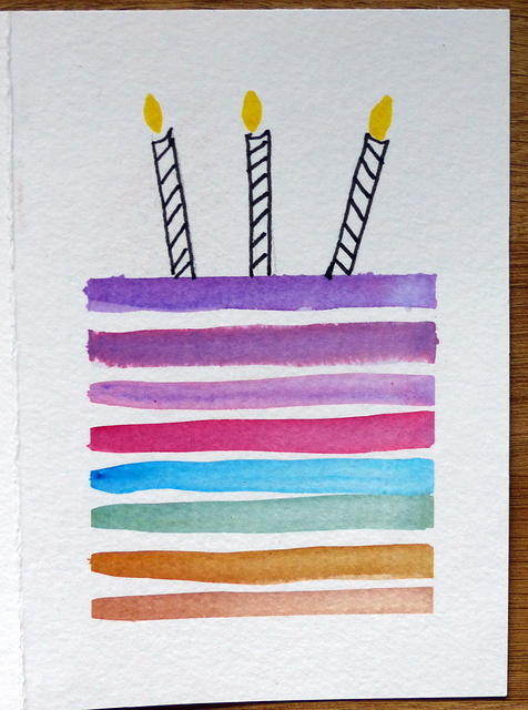 Watercolour birthday cake